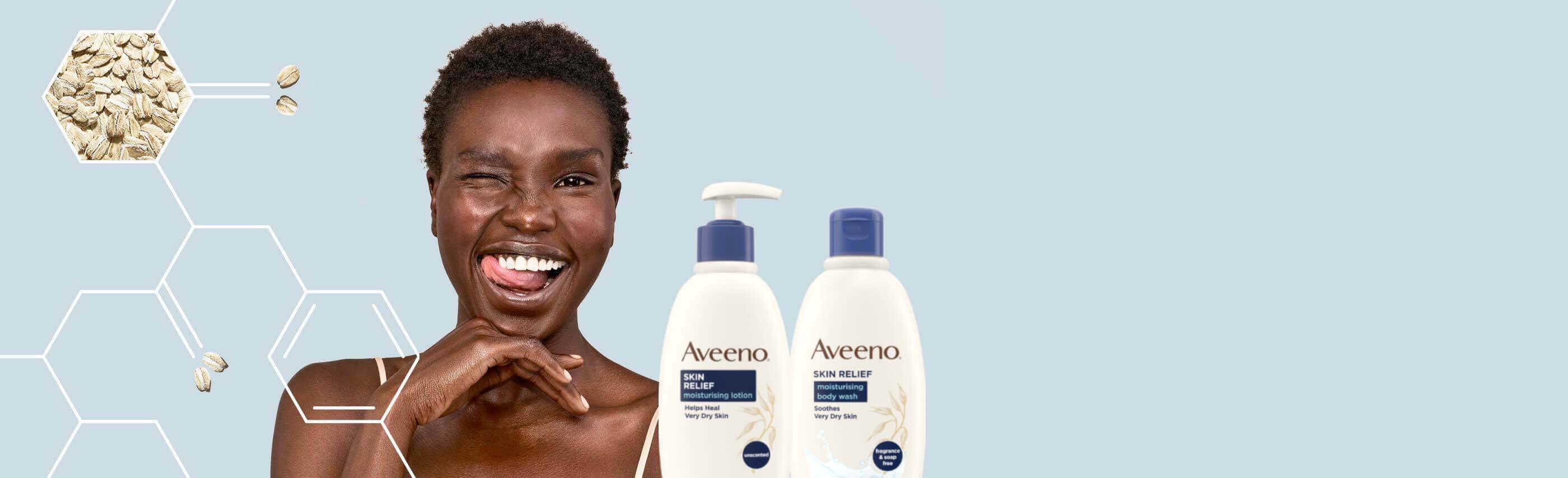 donna felice che prova sollievo alla pelle grazie ai prodotti aveeno